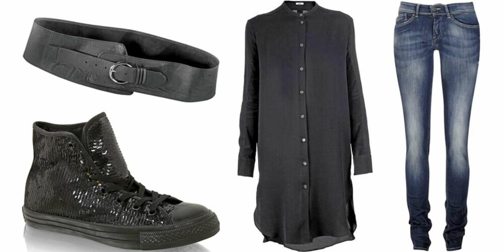 MANDAG: Bruk en lang bluse over et par jeans med et belte i livet og lave sko.