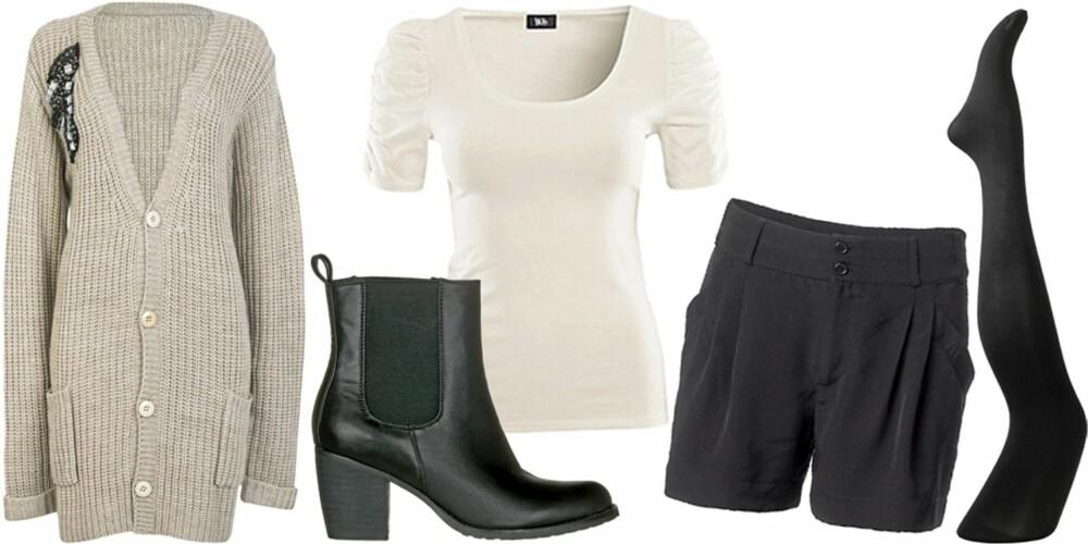 TIRSDAG: Shorts med hvit t-skjorte, åpen strikkejakke, strømpebukser og ankelstøvletter.