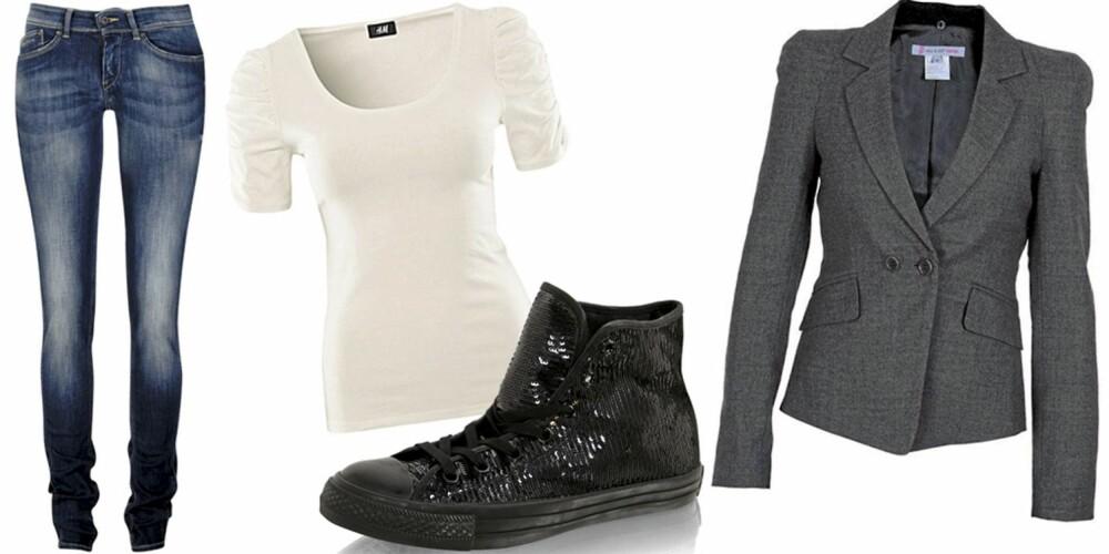 ONSDAG: En hvit t-skjorte til smale jeans, med blazer over og lave sko.