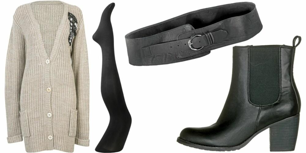LØRDAG: Bruk strikkejakken som en kjole, med belte i livet, strømpebukser og høye hæler.