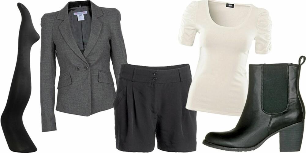FREDAG: Klar for date med shorts, hvit t-skjorte, blazer og ankelstøvletter.