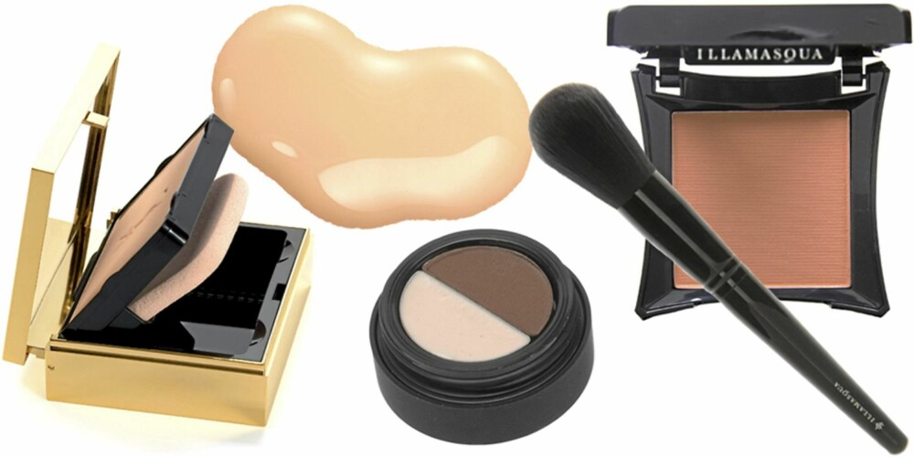 FRA VENSTRE: YSL Poudre Compact Éclat et Matte (kr 395), ELizabeth Arden Pure Finish Mineral Tinted Moisturizer SPF 15 (kr 220), Smashbox Brow-tech (kr 275), Illamasqua Powder Brush (kr 350), Illamasqua Powder Blusher i fargen Expose (kr 160).
