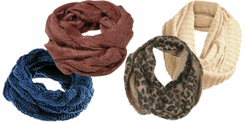 FRA VENSTRE: H&M (kr 99), Gina Tricot (kr 149), Topshop (kr 111), Ellos (kr 99).