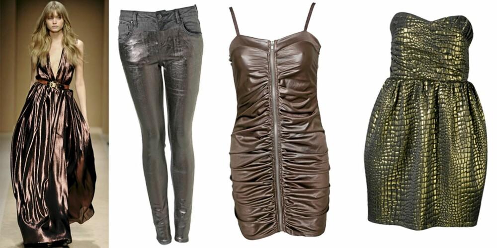 FRA VENSTRE: Salvatore Ferragamo, bukse fra Topshop (kr 549), kjole fra Sisters Point (kr 299), kjole fra Gina Tricot (kr 599).