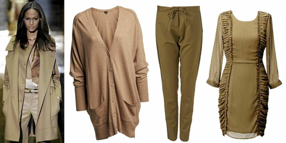 FRA VENSTRE: Gucci, cardigan fra Lindex (kr 399), bukse fra Topshop (kr 549), kjole fra HogM (kr 399).