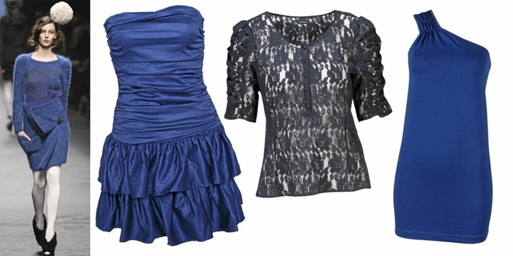 FRA VENSTRE: Sonia Rykiel, kjole fra M by M (kr 829), toppf ra Gina Tricot (kr 199), topp fra Cubus (kr 199).