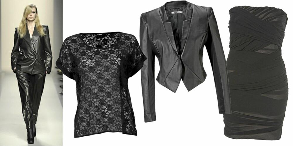 FRA VENSTRE: Bottega Veneta, topp fra Cubus (kr 129), jakke fra Gina Tricot (kr 399), kjole fra Topshop (kr 412).