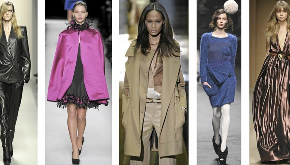 FRA VENSTRE: Bottega veneta, Yves Saint Laurent, Gucci, Sonia Rykiel, Salvatore Ferragamo.
