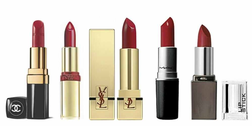FRA VENSTRE: Chanel Rouge Coco i Gabrielle (kr 260), L'Oréal Color Riche Serum i Bright Burgundy (kr 139), YSL Rouge Pur Couture i Le Rouge (kr 265) MAC Lipstick i Russian Red (kr 155) og HogM Lipstick i Access To Me (kr 69,50)