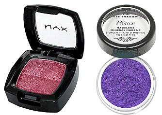 FRA VENSTRE: Nyx Eyeshadow (kr 89), Mayana Corigan Eyeshadow (kr 125).