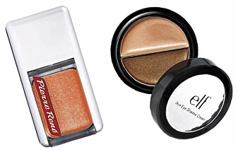 FRA VENSTRE: Pierre Rene (kr 39), Elf Duo Eye Shadow Cream (kr 16).