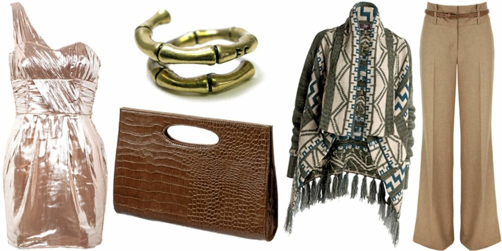 FRA VENSTRE: Kjole fra HM (kr 499), veske fra Gina Tricot (kr 199), ring fra Friis (kr 99), mønstret strikk fra Ellos (kr 399), bukse fra Next (kr 475).