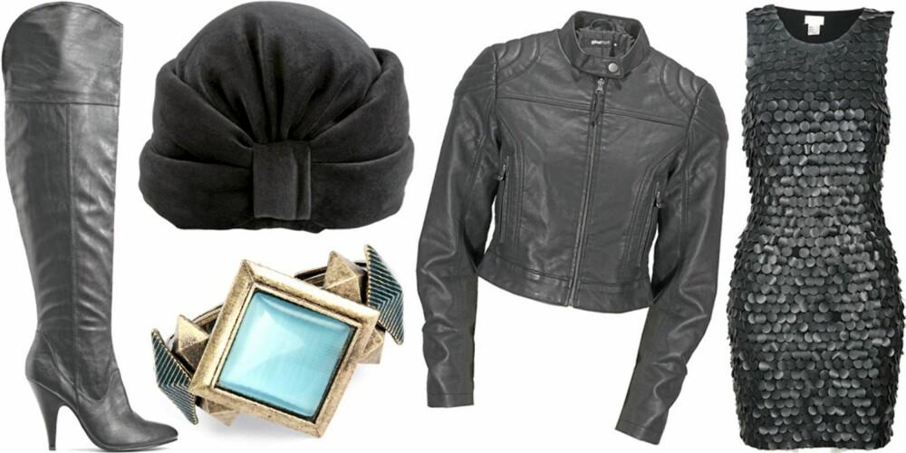 FRA VENSTRE: Støvletter fra Bianco (kr 500), turban fra Monki (kr 120), armbånd fra Sassymanii/Bik Bok (kr 149), jakke fra Gina Tricot (kr 499), kjole fra HM (kr 499).