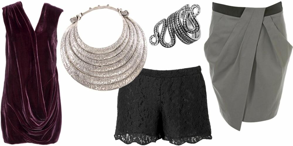 FRA VENSTRE: Kjole fra Asos (kr 479), smykke fra Asos (kr 449), shorts fra Topshop (kr 289), ring fra Indiska (kr 99), skjørt fra Topshop (kr 285).