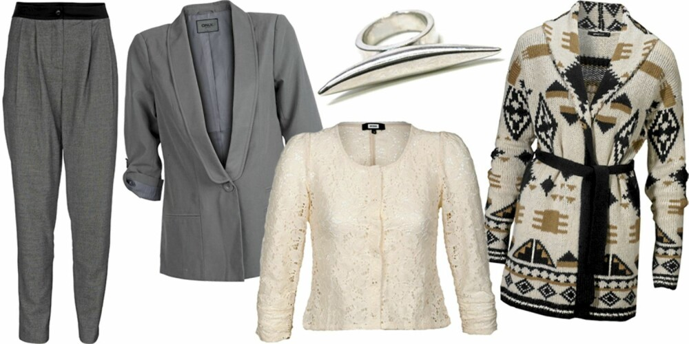 FRA VENSTRE: Dressbukse fra Vero Moda (kr 450), blazer fra Only (kr 359), jakke fra Bik Bok (kr 249), ring fra Friis (kr 139), strikkejakke fra Gina Tricot (kr 499).