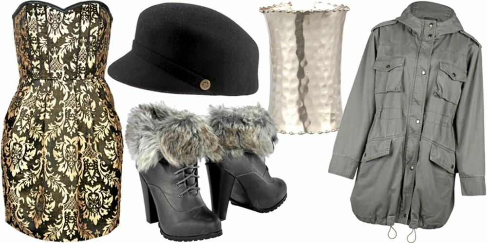 FRA VENSTRE: Kjole fra HM (kr 399), hatt fra Asos (kr 179), boots fra Ellos (kr 449), armbånd fra Warehouse (kr 199), parkas fra Bik Bok (kr 499).