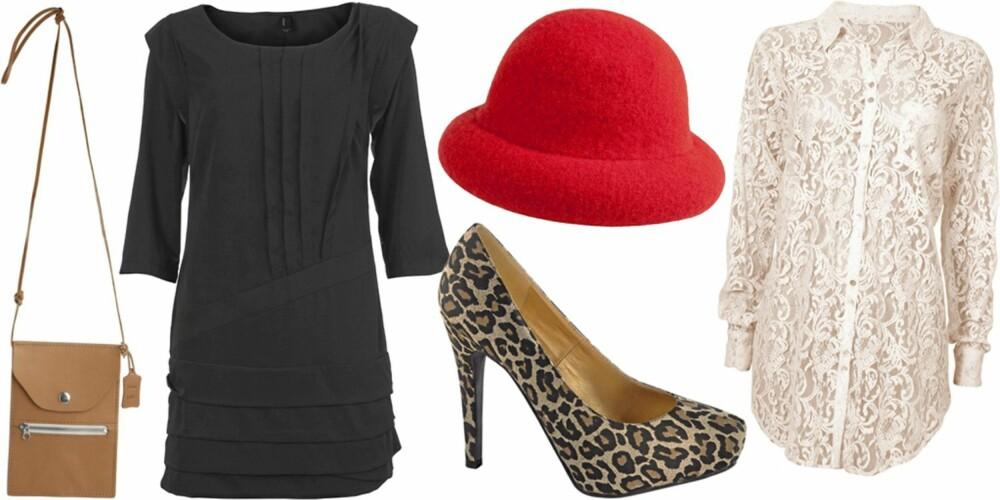 FRA VENSTRE: Liten skinnveske fra Monki (kr 180), kjole fra Vero Moda (kr 299), sko fra Ellos (kr 299), hatt fra Monki (kr 120), skjorte fra Cubus (kr 299).