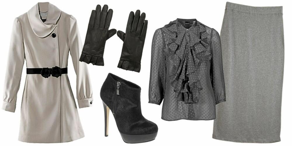 FRA VENSTRE: Jakke fra H&M (kr 499), hansker fra Rules By Mary (kr 249), sko fra Asos (kr 733), bluse fra Gina Tricot (kr 249), skjørt fra Monki (kr 180).
