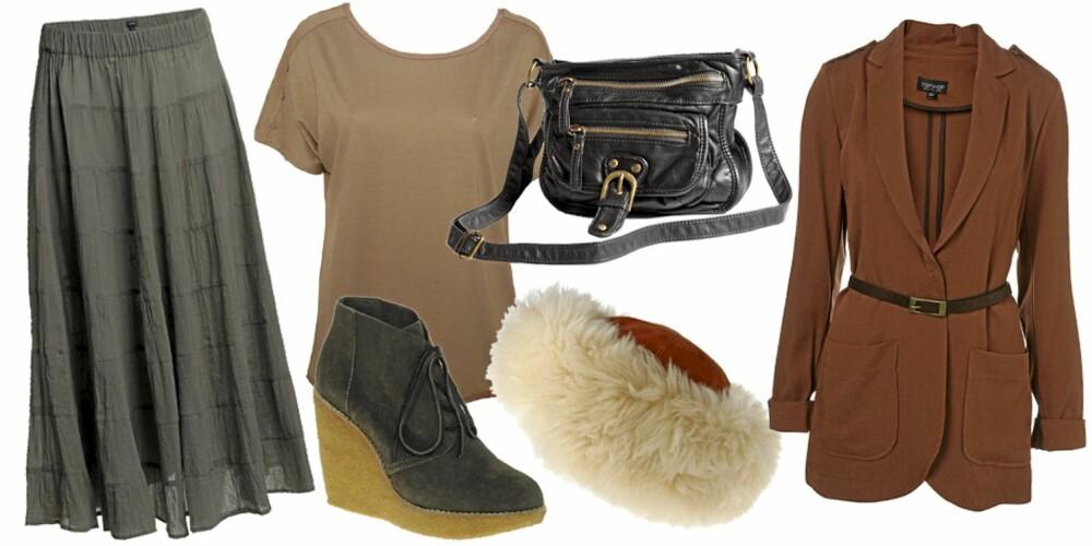 FRA VENSTRE: Skjørt fra Lindex (kr 299), t-skjorte fra Selected (kr 149), sko fra Mango (kr 733), veske fra Lindex (kr 199), lue fra Asos (kr 458), jakke fra Topshop (kr 596).