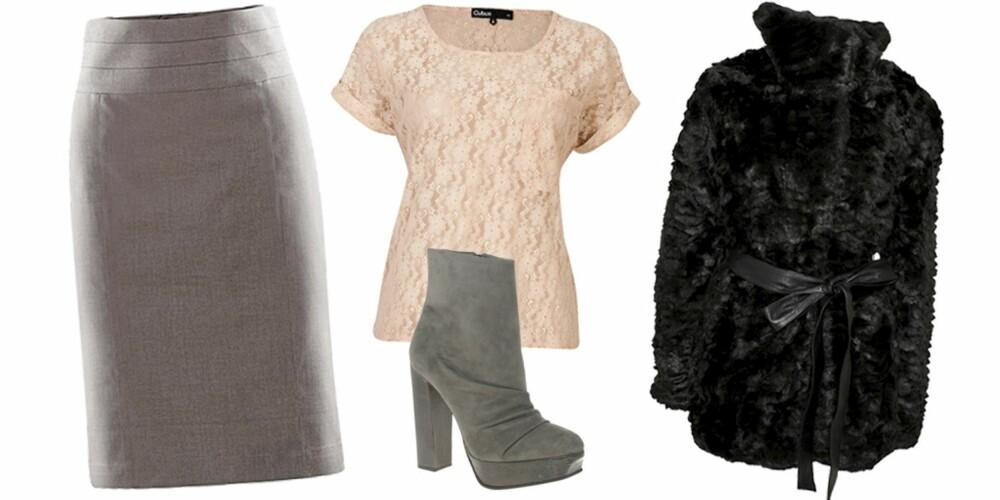 FRA VENSTRE: Skjørt fra H&M (kr 199), t-skjorte fra Cubus (kr 179), sko fra Asos (kr 1104), jakke fra Vila (kr 799).
