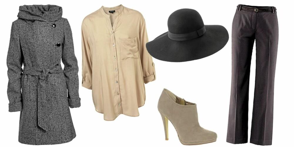 FRA VENSTRE: Jakke fra Ellos (kr 899), bluse fra Topshop (kr 295), hatt fra Asos (kr 202), sko fra Asos (kr 350), bukse fra H&M (kr 299).