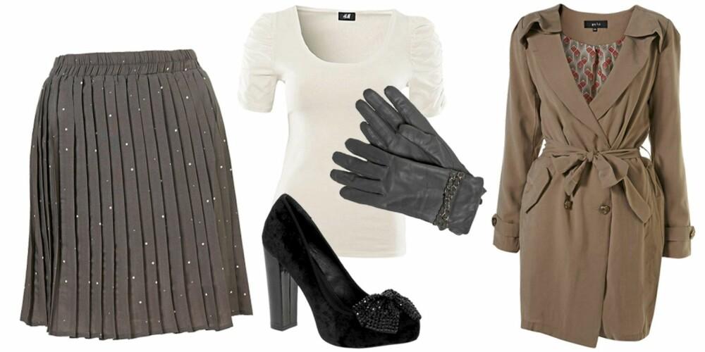 FRA VENSTRE: Skjørt fra Topshop (kr 552), t-skjorte fra H&M (kr 79,50), sko fra Carvela (kr 1381), hansker fra Lindex (kr 299), jakke fra Topshop (kr 1151).
