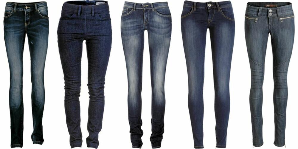 FRA VENSTRE: Vero Moda (kr 400), Acne (kr 1000), Pepe Jeans (kr 999), Fornarina (kr 1199), Ellos (kr 399).