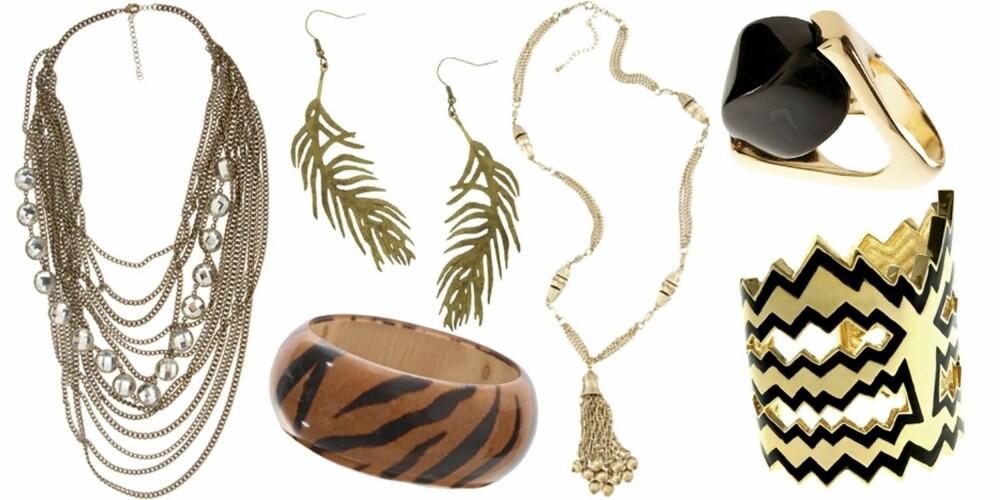 FRA VENSTRE: kjede fra Talullah Tu (kr 281), øredobber fra Gina Tricot (kr 59), armbånd fra Nelly (kr 79), kjede fra Bikbok (kr 99), ring fra H&M (kr 49,50), armbånd fra Disaya (kr 1219).