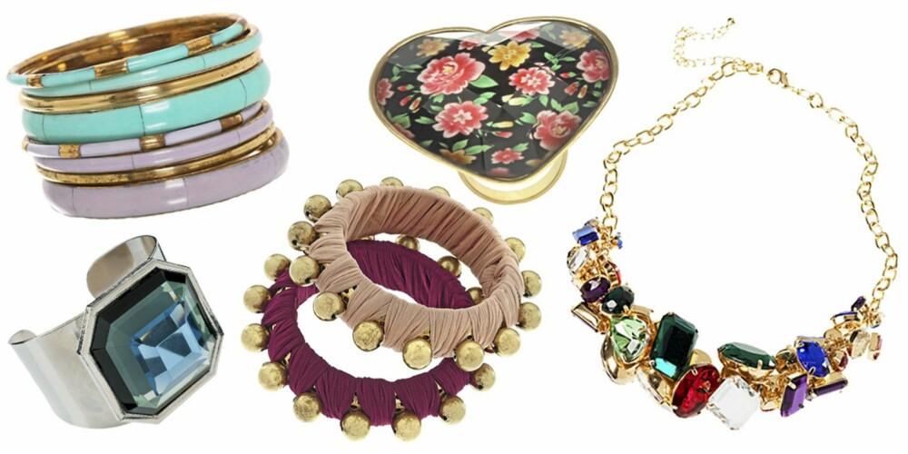 FRA VENSTRE: Armbånd fra Nelly (kr 69), ring fra Asos (kr 169), ring fra Asos (kr 75), armbånd fra Topshop (kr 155), kjede fra H&M (kr 129).