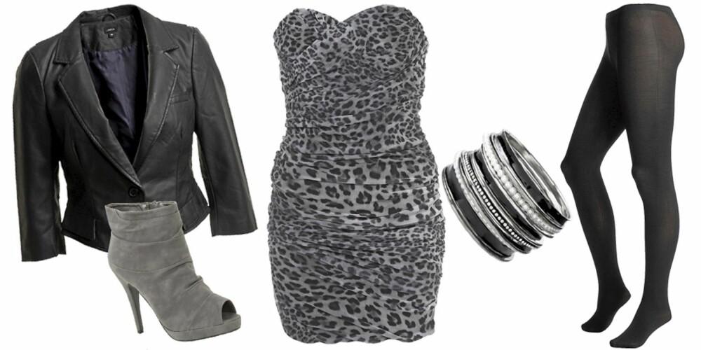 FRA VENSTRE: Jakke fra Lindex (kr 499), sko fra Nelly (kr 379), kjole fra Topshop (kr 457), armbånd fra Oasis (kr 149), strømpebukse fra Lindex (kr 129).