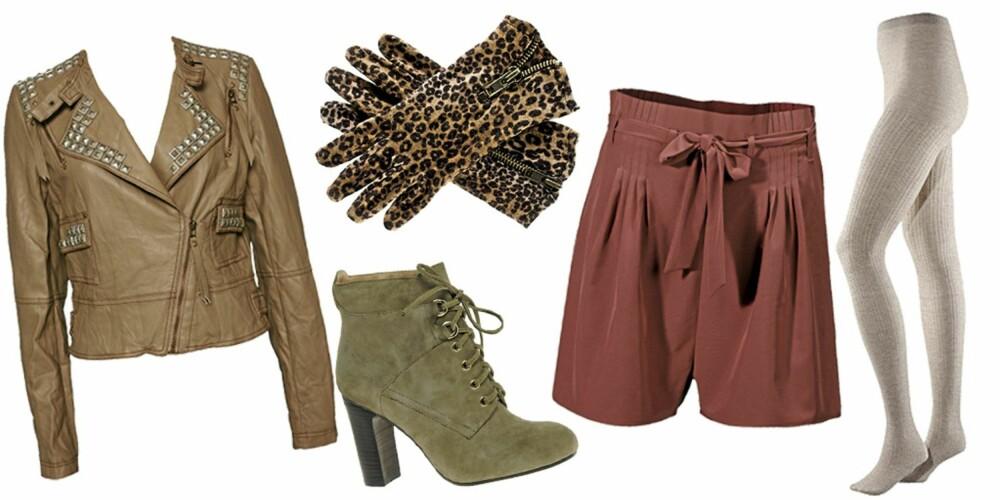 FRA VENSTRE: Jakke fra Club L (kr 469), hansker fra H&M (kr 79,50), sko fra Reiss (kr 1483), shorts fra Gina Tricot (kr 249), strømpebukse fra H&M (kr 129).