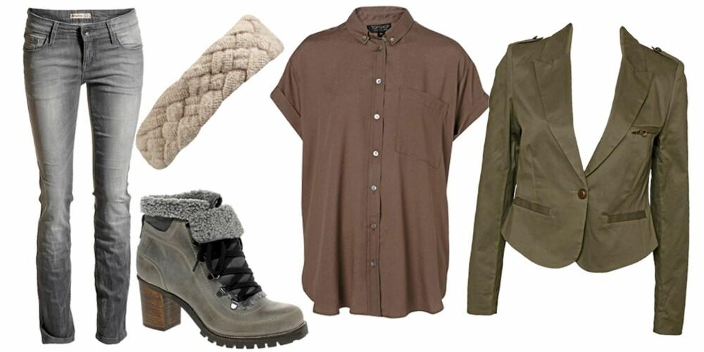 FRA VENSTRE: Bukse fra Lindex (kr 299), hårbånd fra BikBok (kr 99), sko fra Bertie (kr 1166), skjorte fra Topshop (kr 299), jakke fra Rut M.Fl (kr 399).