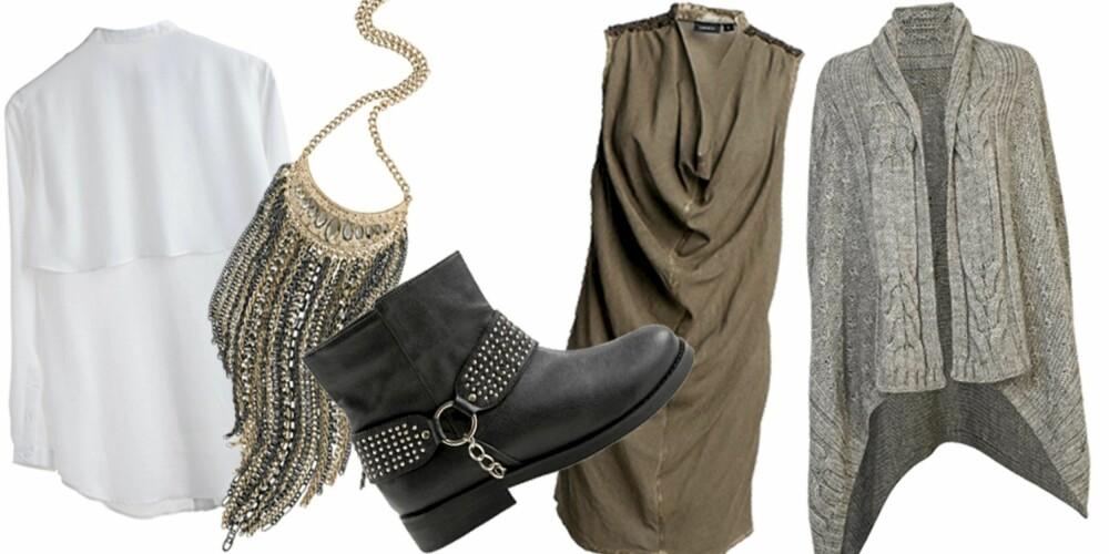FRA VENSTRE: Skjortebluse fra Monki (kr 350), kjede fra Cubus (kr 179), ankelboots fra Monki (kr 400), kjole fra Lindex (kr 299), strikkejakke fra BikBok (kr 399)