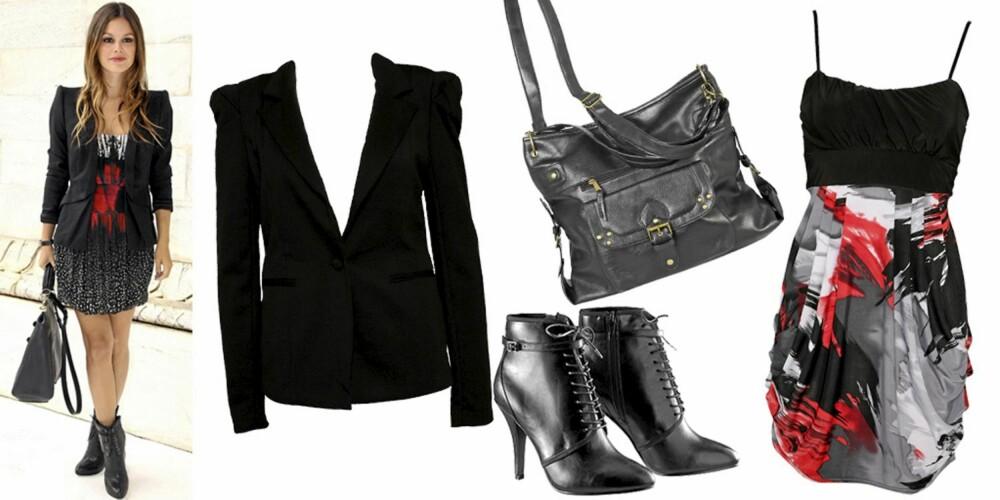 FRA VENSTRE: Blazer fra Only (kr 459), veske fra Cubus (kr 199), sko fra H&M (kr 399), kjole fra Sisters Point (kr 349).