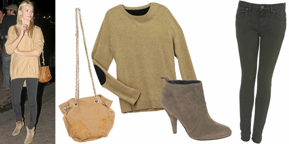FRA VENSTRE: Veske fra Friis & Company (kr 419), genser fra H&M (kr 249), sko fra Nine West (kr 841), bukse fra Topshop (kr 374).