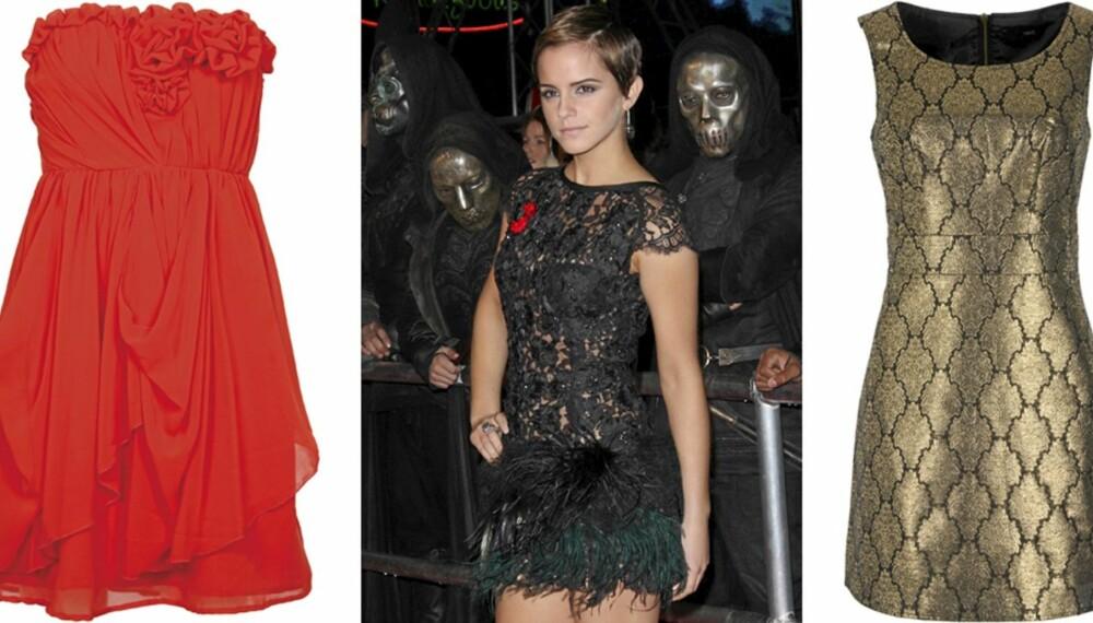 FRA VENSTRE: Rød kjole fra Vila (kr 500), Emma Watson  i svart festkjole, gullkjole fra Next (kr 420).