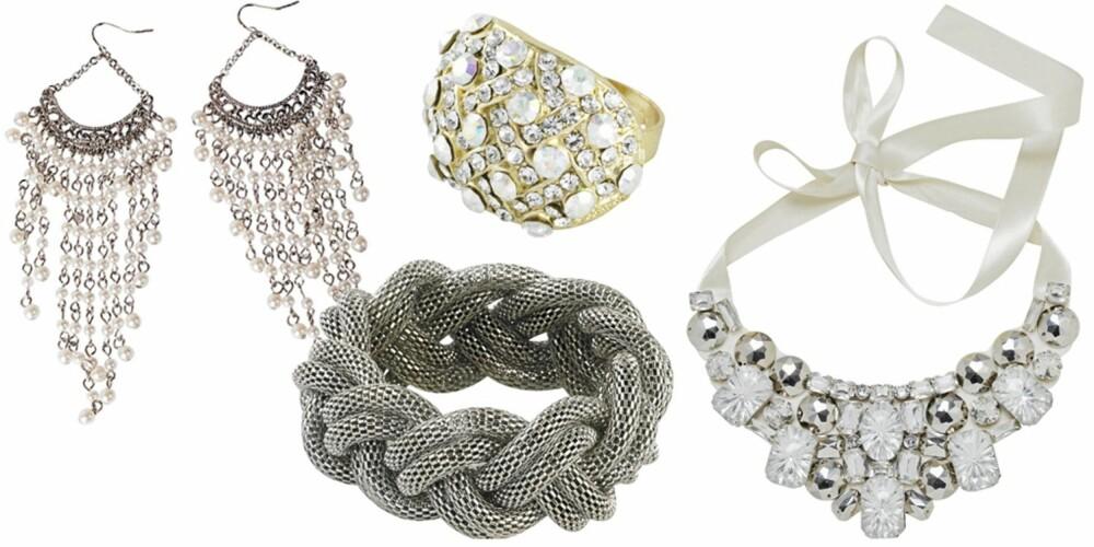FRA VENSTRE: Øredobber fra Glitter (kr 139), armbånd fra Cubus (kr 99), ring fra Bik Bok 8kr 49), smykke fra HM (kr 99).