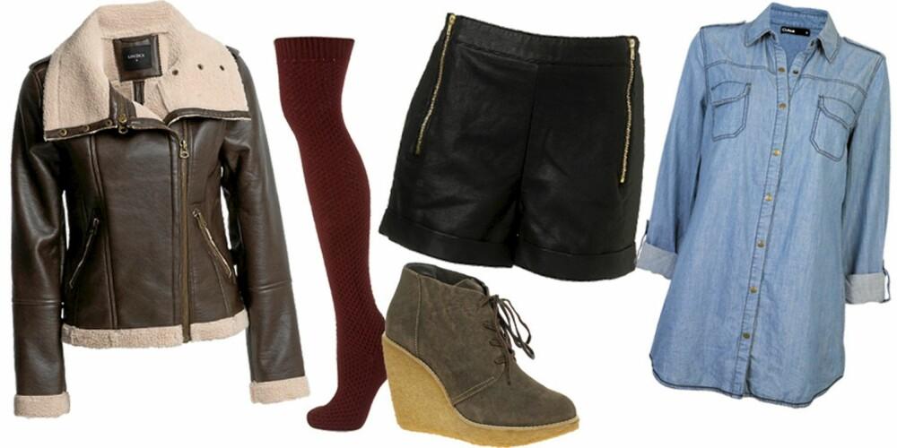 FRA VENSTRE: Jakke fra Lindex (kr 799), strømpe fra Topshop (kr 74), shorts fra Topshop (kr 351), sko fra Mango (kr 734), skjorte fras Cubus (kr 299).
