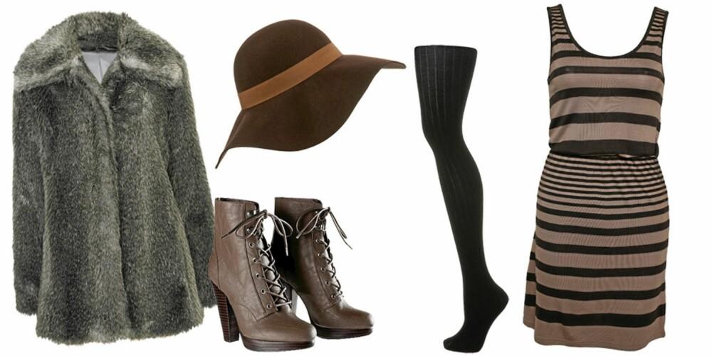 FRA VENSTRE: Kåpe fra Cubus (kr 799), hatt fra Topshop (kr 231), sko fra H&M (kr 499), strømpe fra Topshop (kr 92), kjole fra Only (kr 139).
