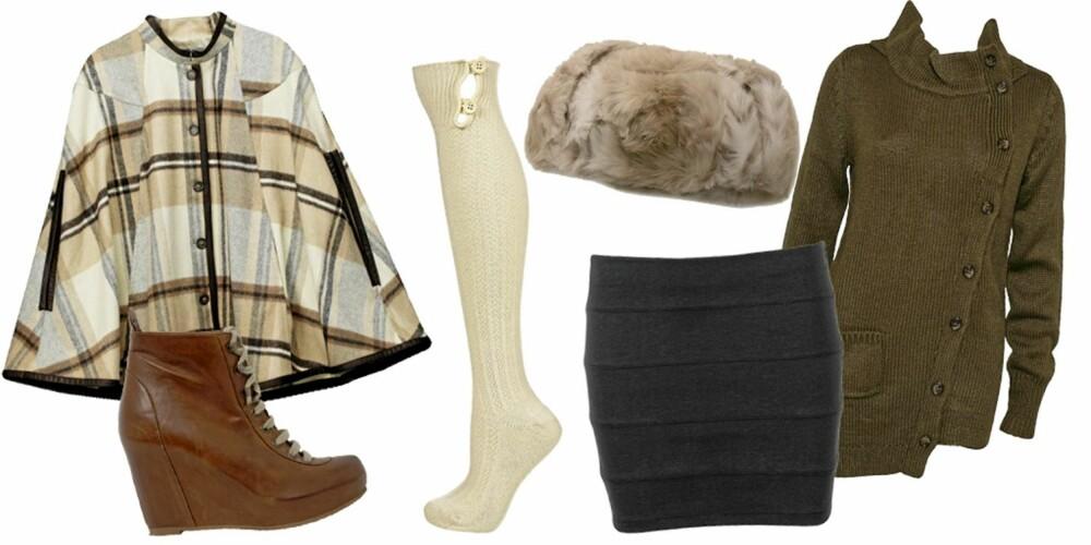 FRA VENSTRE: cape fra H&M (kr 599), sko fra Bianco (kr 1100), strømpe fra Topshop (kr 74), lue fra Barts (kr 749), skjørt fra Cubus (kr 149), jakke fra Rut M.Fl (kr 249).