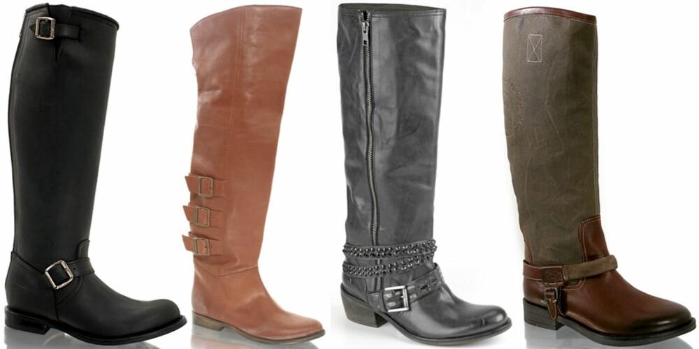 FRA VENSTRE: Prime Boots (kr 3495), Fornarina (kr 3149), Bronx (kr 1600), Hilfiger Denim (kr 2099).