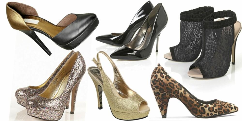 FRA VENSTRE: Metallisk skimrende sko fra H&M (kr 500), platåsko med glitter fra Topshop (kr 600), sorte pumps fra Topshop (kr 650), gullfargete platåsko fra Tesco (kr 220), peeptoesko med blonder fra Topshop (kr 670), pumps med leopardprint fra Bianco (kr 400)