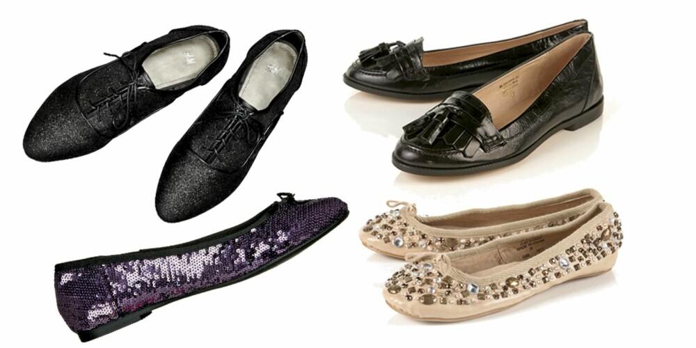 FRA VENSTRE: Herresko fra H&M (kr 170), ballerinasko med glitter fra Din Sko (kr 299), mokkasiner fra Topshop (kr 499), ballerinasko med stener fra Topshop (kr 299)