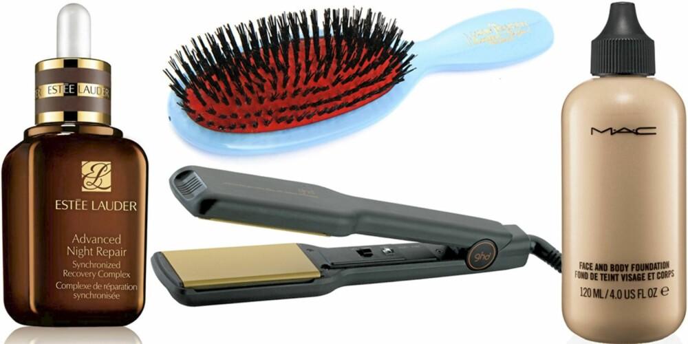 FRA VENSTRE: Esteé Lauder Advanced Night Repair 30 ml (kr 565), GHD stylingjern (kr 1899), Mason Pearson hårbørste (ca. kr 1000), Mac Face og Body Foundation (kr 295).