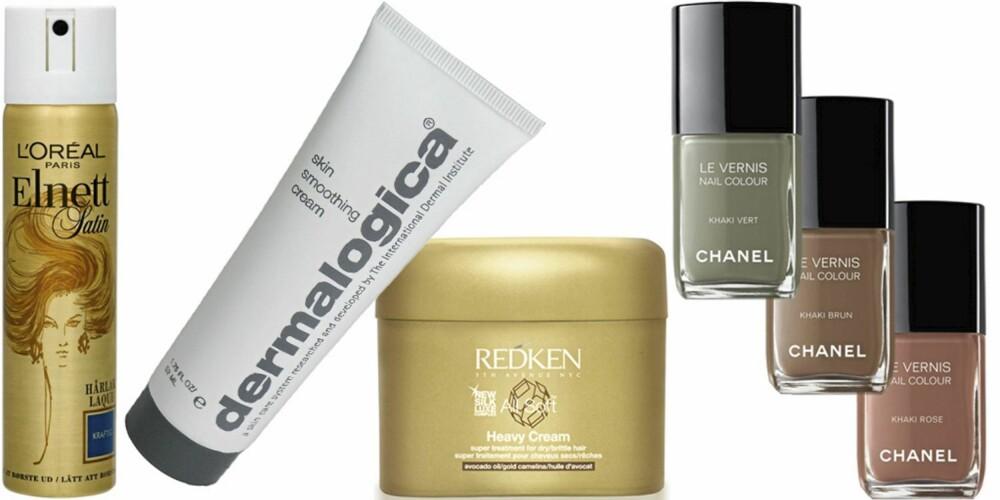 FRA VENSTRE: L'Oréal Elnett hårspray (kr 76), Dernalogica Skin Smoothing Cream (kr 460), Redken All Soft Heavy Cream (kr 414), Chanel Le Vernis Nail Colour Les Khakis (kr 210).