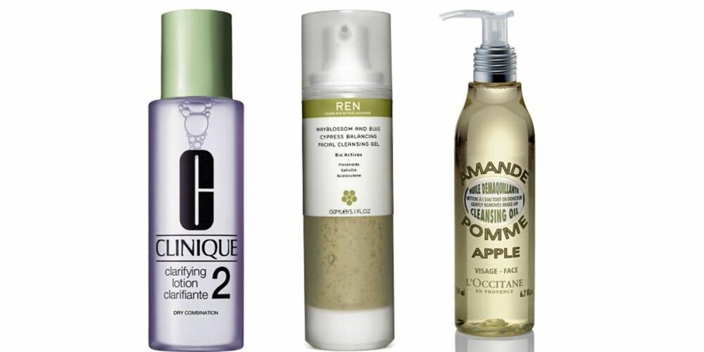 FRA VENSTRE: Clinique Clarifying Lotion (kr 310), REN Mayblossom Gel (kr 245), L'Occitane Apple Cleansing Oil (kr 159)