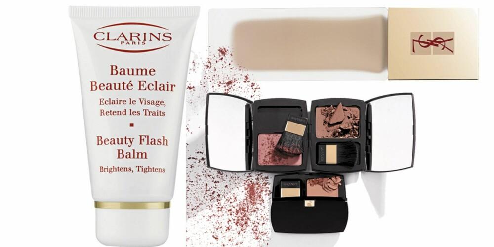FRA VENSTRE: Clarins Beauty Flash Balm (kr 330), YSL Teint Radiance (kr 385), Lancôme Blush Subtil (kr 350)