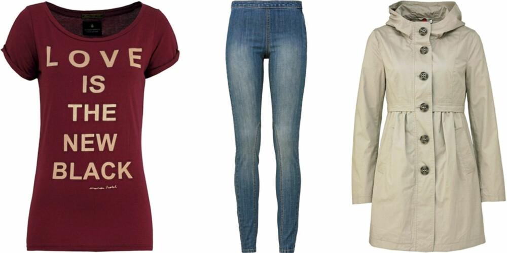 FRA VENSTRE: T-skjorte fra Maison Scotch (kr 389), jeans med glidelås i siden fra HM (kr 99), Kåpe fra H&M (kr 399).
