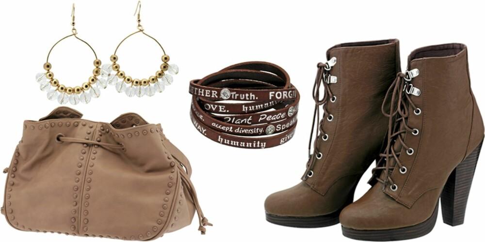 FRA VENSTRE: Veske fra Gina Tricot (kr 299), øredobber fra Daisy (kr 298), armbånd fra Humanity hos Creative Lounge (kr 499), sko fra H&M (kr 499).
