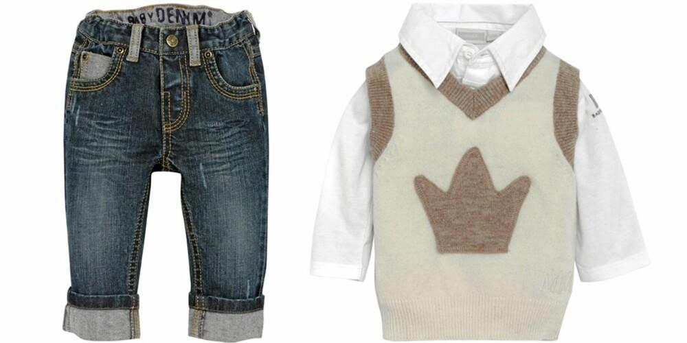 FRA VENSTRE: Jeans fra KappAhl (kr 179), skjorte fra Mexx (kr 199), strikkevest fra MeMini (kr 379).